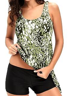 d3b67a57979bb AlvaQ Women Two Piece Swimsuits Printed Slimming Tankini Tops Boyshort Set (S-XXXL)