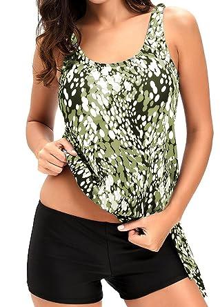 72b3cef9e42 AlvaQ Women's Sexy Modest Racerback 2 Piece Plus Size Maternity Swimwear  Tankini Swimsuits Small Army Green