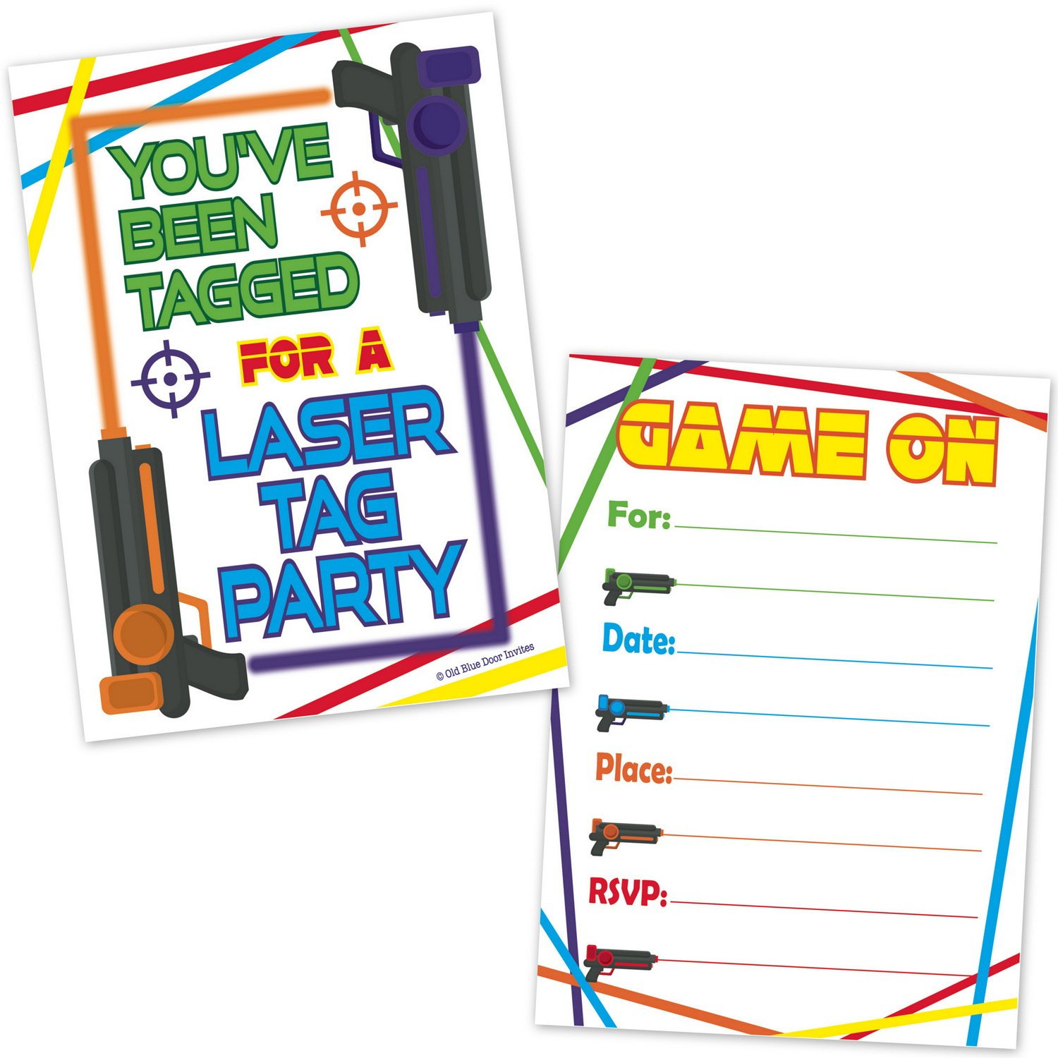 Laser Tag Birthday Party Invitations (20 Count with Envelopes) - Kids Party Invites for Boys and Girls - Laser Tag Party Supplies