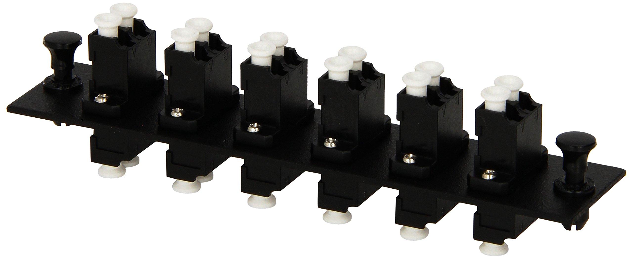 Hubbell HUBFSPLCDM6BK Adapter Panel, 12-Fiber, 6 LC Duplex, Phosphor Bronze, Black