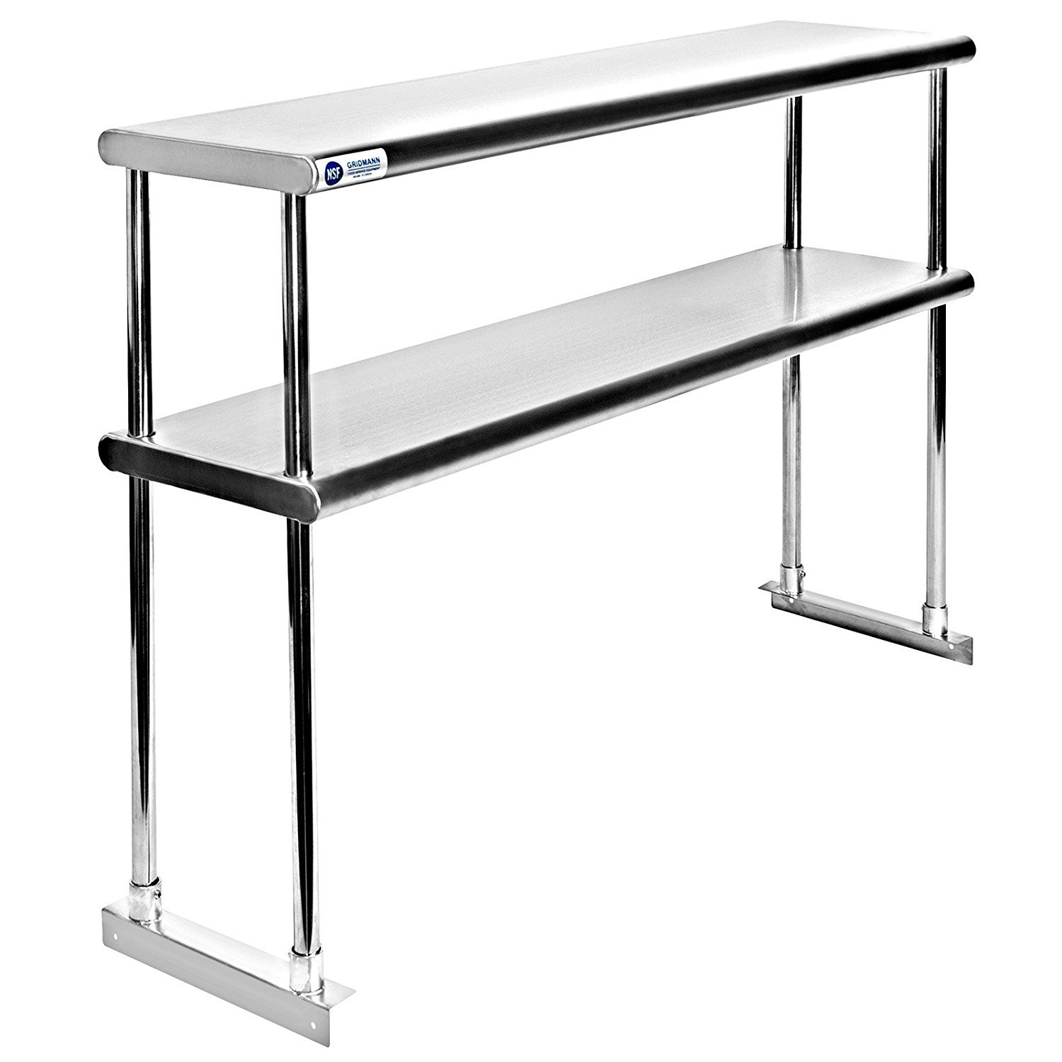 Adjustable Double Overshelf 12 x 24 - Stainless Steel for Work Table