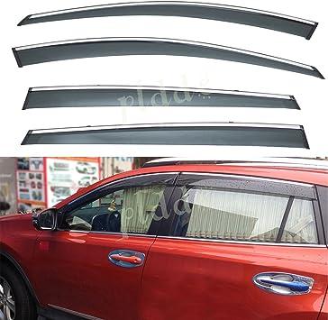 For Toyota RAV4 13-18 With Sliver LOGO Window Visor Vent Rain Guard Door Visor