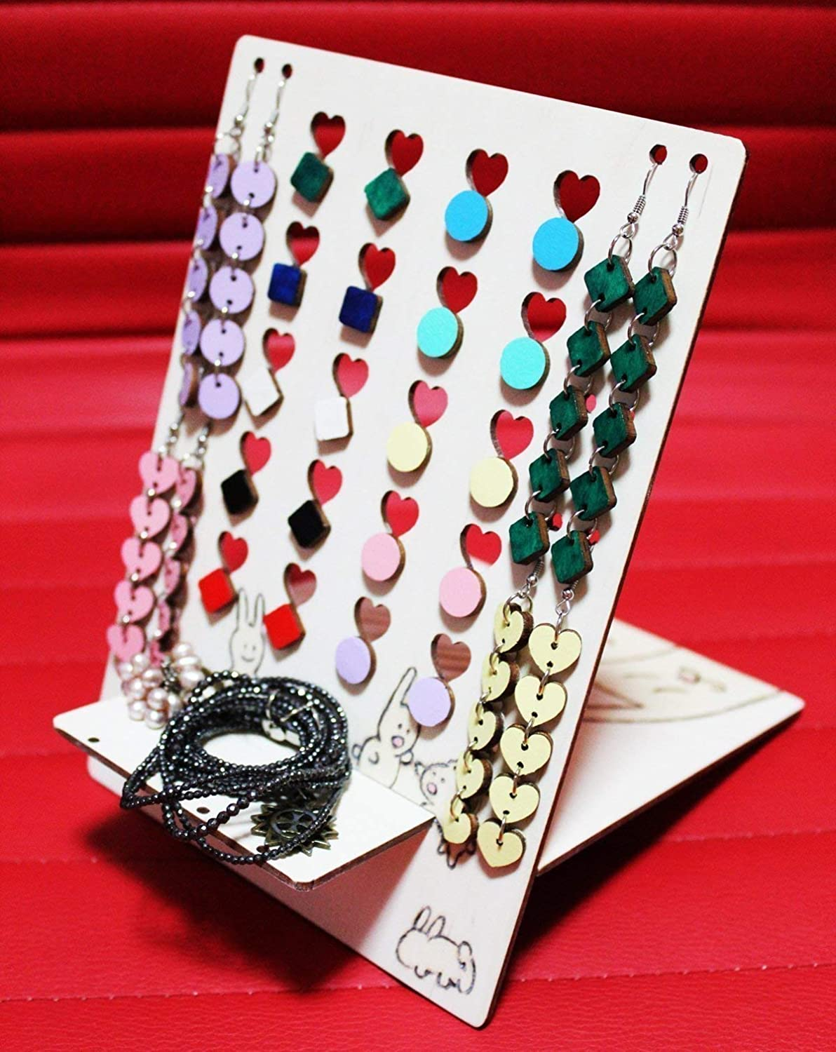 Beautiful 24-Pair Earring Organizer for Studs, Drop and Dangle Earrings with Romantic Designs Hand-Etched and Painted on Both Sides, Cute Handmade Gift for Jewellery Lovers