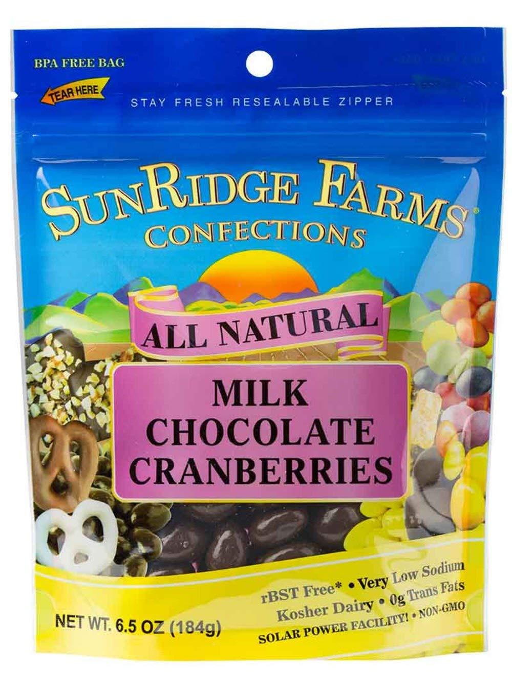 SunRidge Farms Milk Chocolate Cranberries 6.5 Ounce Bag (Pack of 12)