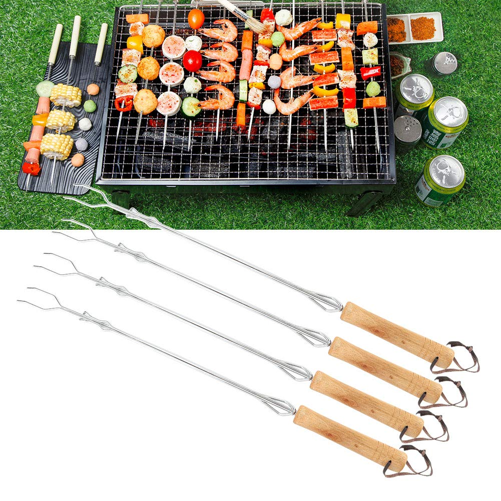 Wilcox Fashionable 4Pcs Camping Barbecue BBQ Telescoping Stainless Steel Forks Skewers Roasting Sticks Barbecue Accessories by Wilcox