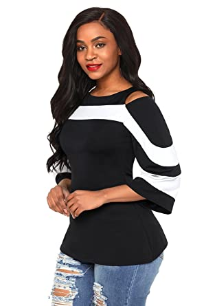 f46083012ed4e2 Image Unavailable. Image not available for. Color  Joinwear Black White  Colorblock Bell Sleeve Cold Shoulder Top