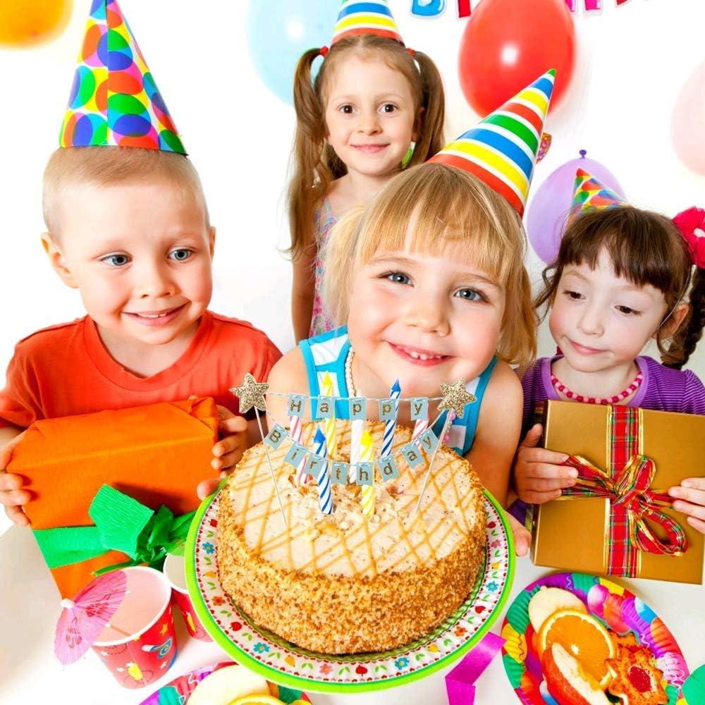 MIZOMOR 2 St/ück Cake Topper Happy Birthday Tortendek Geburtstag Tortenstecker Wimpelkette Kuchen Topper Girlande Dekoration f/ür Torten Cupcake Party Pink Blau