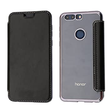 Funda Honor 8, Coodio Honor 8 Funda Cuero Billetera, Carcasa en libro, Ranura para Tarjeta Slim Silicona Case Cover Para Huawei Honor 8 - Jet Negro