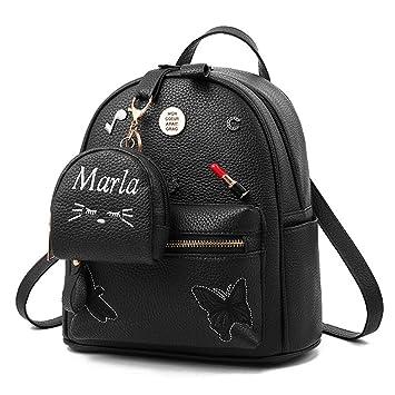 Flada niñas mochila PU cuero escuela bolsas mochila lindo Bookbag monedero con pequeña cartera de gato negro: Amazon.es: Equipaje