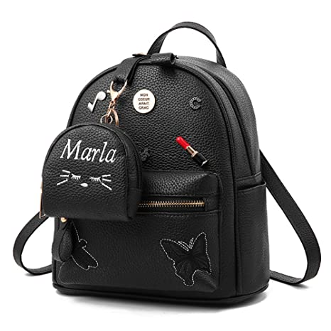 Amazon.com   Flada Girls Backpack PU Leather School Bags daypack Cute Bookbag Purse with Small Cat Wallet Black   Kids Backpacks