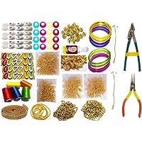 Goelx Silk Thread Jewellery Making Kit, Choose bangle size & silk thread color 50 Pair Jhumka Earring Base,Jewellery Making Materials,Full Of Jewellery Making Items, All Items Set With Silk Thread & Tools (19 Items)