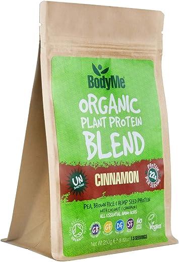 BodyMe Mezcla de Proteína Vegana Orgánica | Cruda Canela | 250g Polvo | NO AZUCARADA Con 3 Proteínas Vegetales