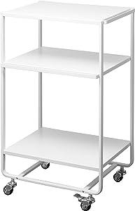 YAMAZAKI home Three Server 3-Tier Rolling Storage Utility Cart|Kitchen/Bathroom, One Size, White