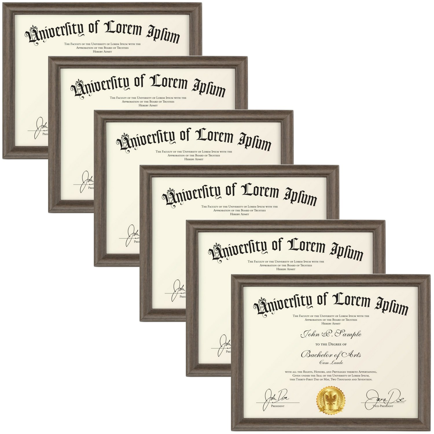 Icona Bay 8.5x11 Document Frame (6-Pack, Matte Brown) Wood Finish Picture Frame, Wall or Table Top, for Diploma Photo License Certificate, Landscape as 11x8.5 or Portrait, Lakeland Collection