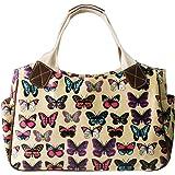 Miss Lulu Women Oilcloth Shopper Day Tote Handbag Travel Hand Bag Flower Owl Butterfly Polka Dots Patterns