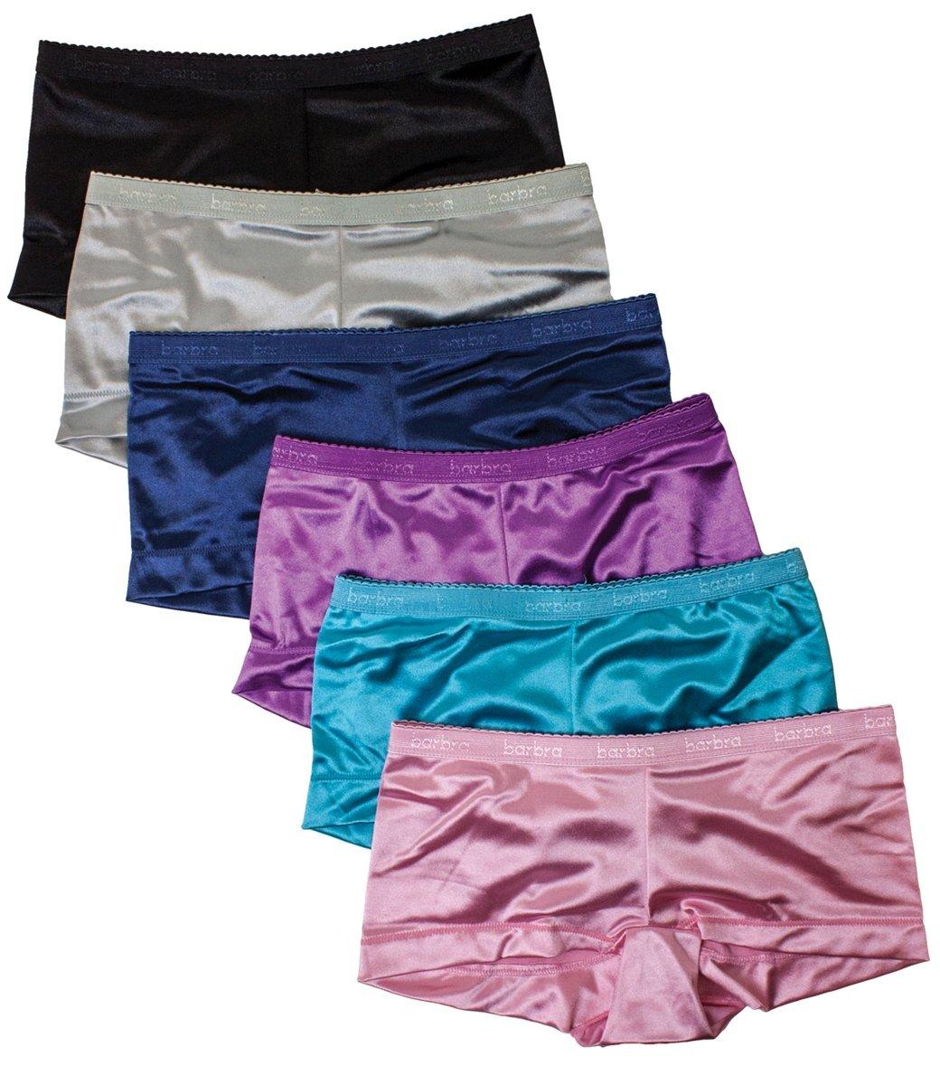 Barbra 6 pack Women's Satin Full Coverage Guaranteed Fit Boyshort Panties(3XL) by Barbra Lingerie (Image #2)