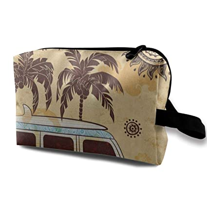 9c02ea65ee16 Amazon.com  Love beautiful Makeup Bag Old Fashion Bus Palm Tree Sun Mandala  Handy Travel Multifunction Clutch Pouch Bags Special Storage for Girls   Home   ...
