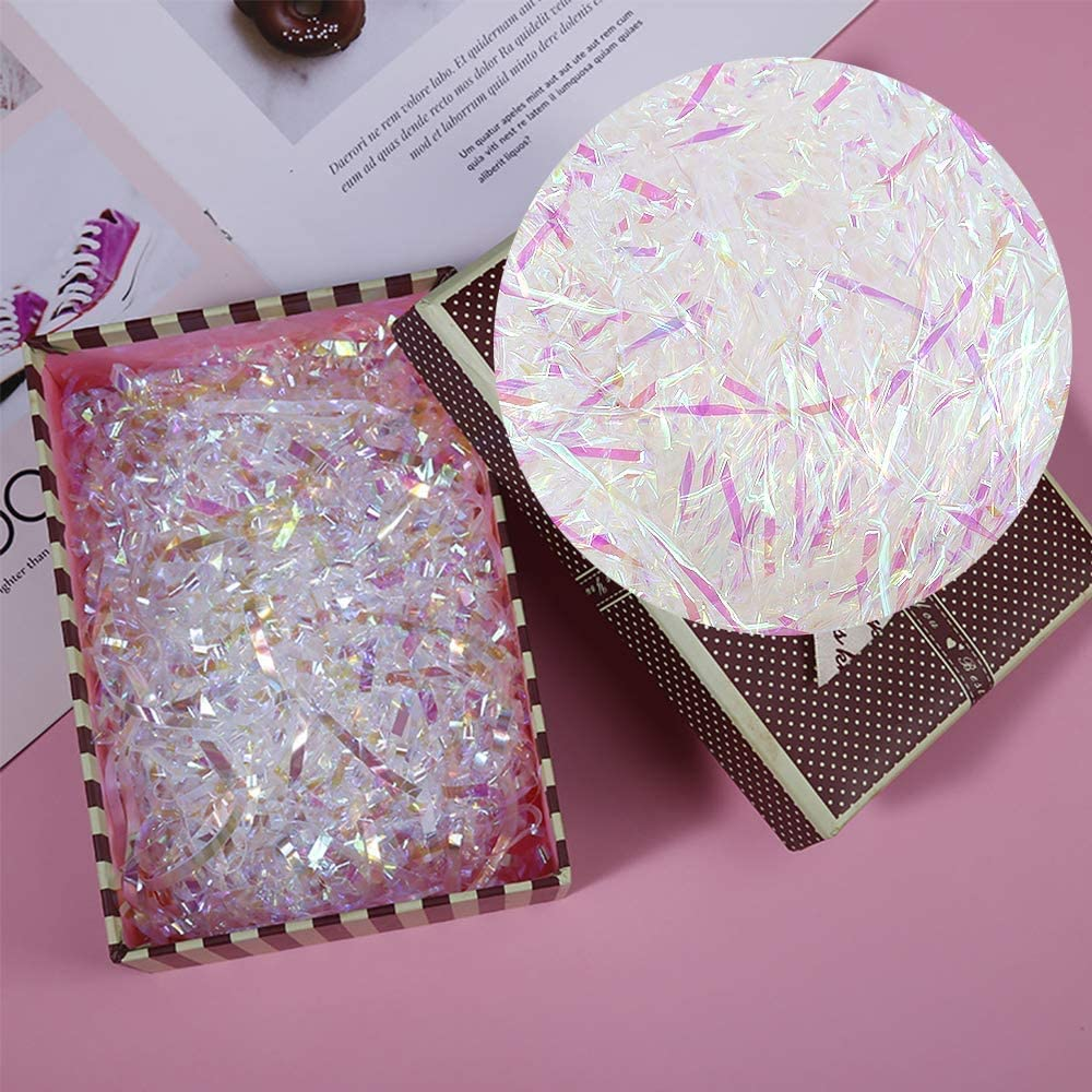 500 Grams Shredded Tissue Paper Iridescent Hamper Shredded Paper for Hamper Filling Gift Wrapping Party Supplies