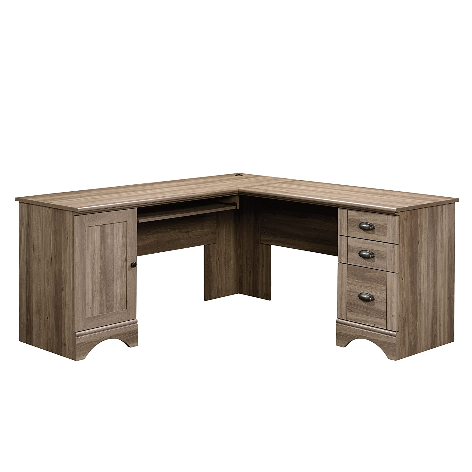 Sauder 417586 Harbor View Corner A2 Computer Desk, Salt Oak