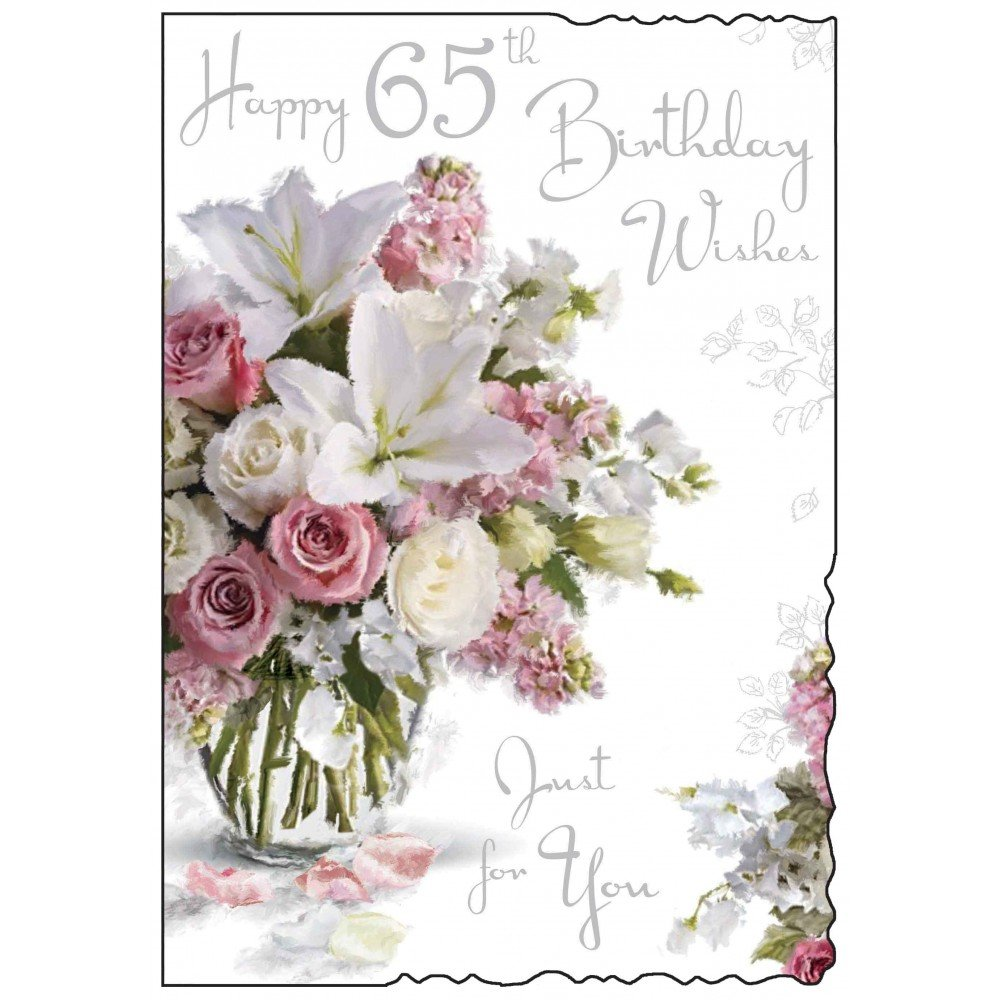 Happy 65th birthday card purple flower design amazon happy 65th birthday card purple flower design amazon office products izmirmasajfo