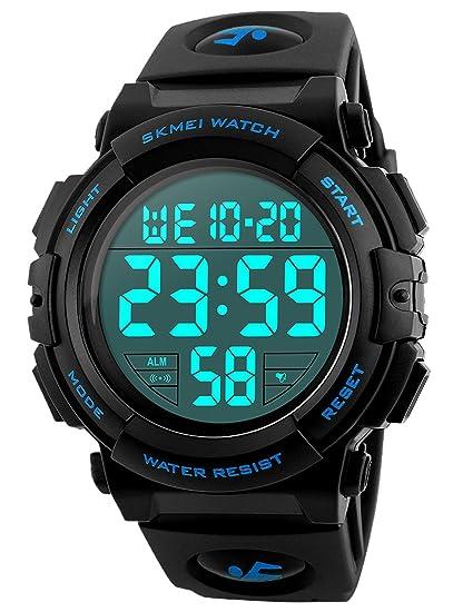 Reloj digital militar deportivo led resistente al agua (50 m) para hombre - Electrónico, con alarma y cronómetro: Amazon.es: Relojes