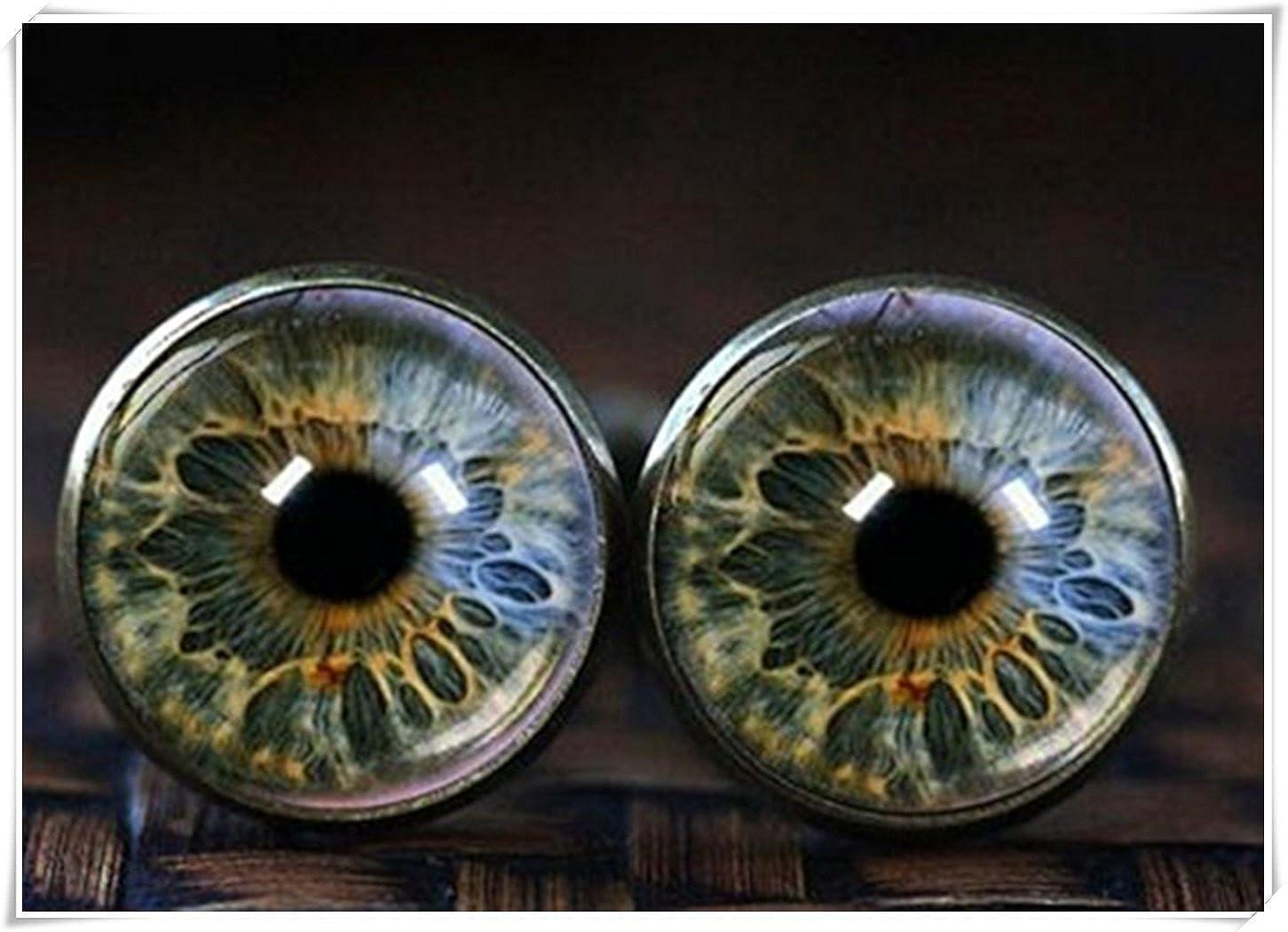 Eye Boutons de manchette, œil Bijoux en verre Boutons de manchette, réaliste Human Globe oculaire Black WE34