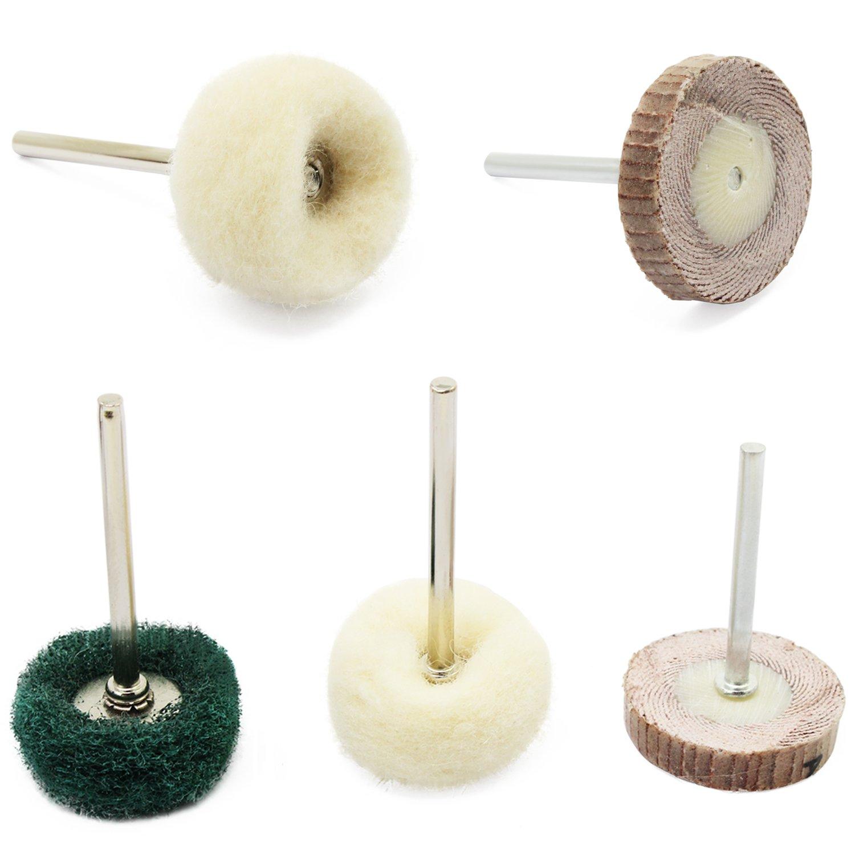 HSeaMall 30pcs color/é pad de polissage abrasif polissage roue brosses forme t m/élang/é set acier fil rotatif brosse brosse /à r/écurer pad roues de laine pour dremel outil rotatif