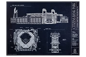 Amazon citizens bank park blueprint style print posters prints citizens bank park blueprint style print malvernweather Images