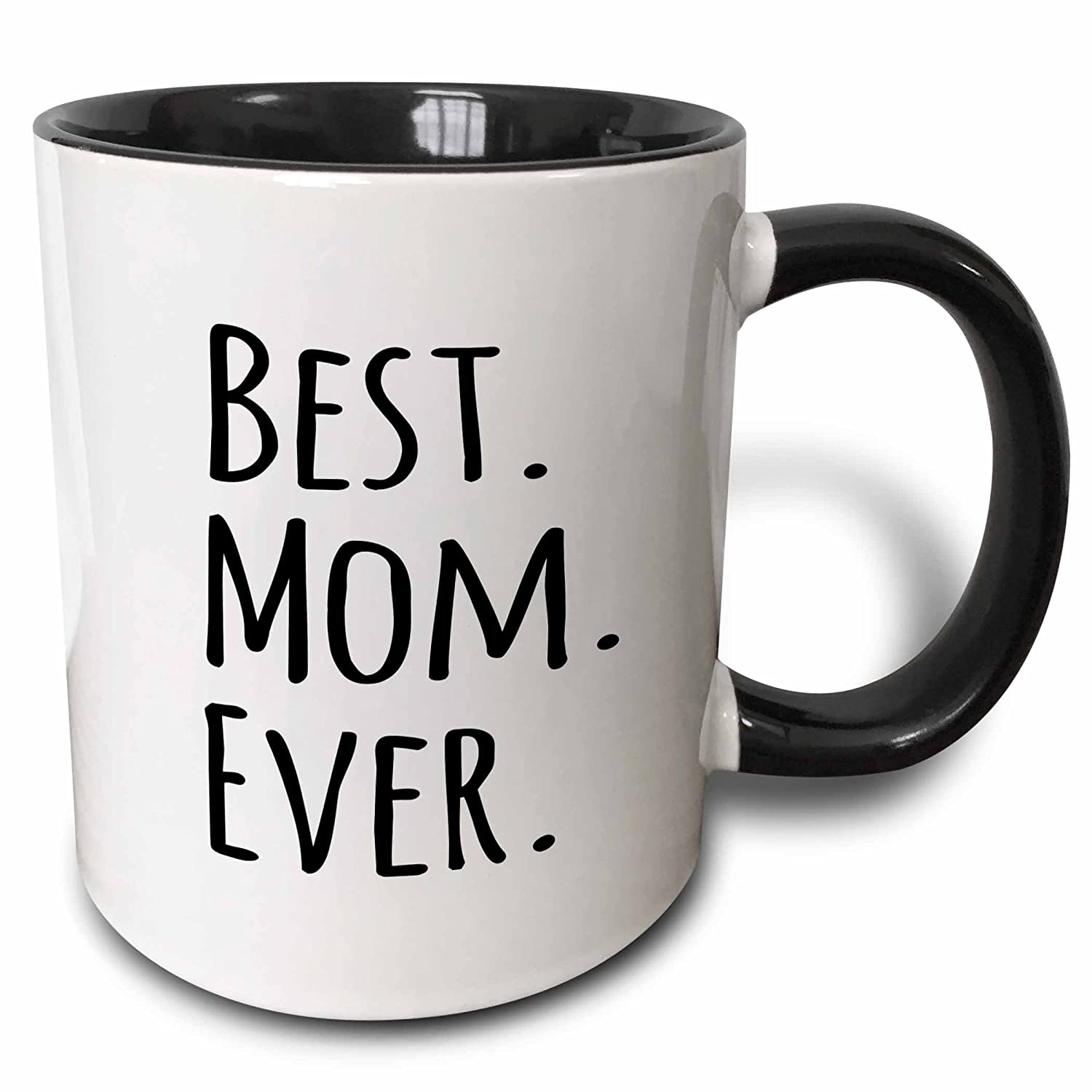 3dRose 3dRose Best Mom Ever - Gifts for parents - Good for Mothers day - black text - Two Tone Black Mug, 11oz (mug_151530_4), Black/White 3EROS