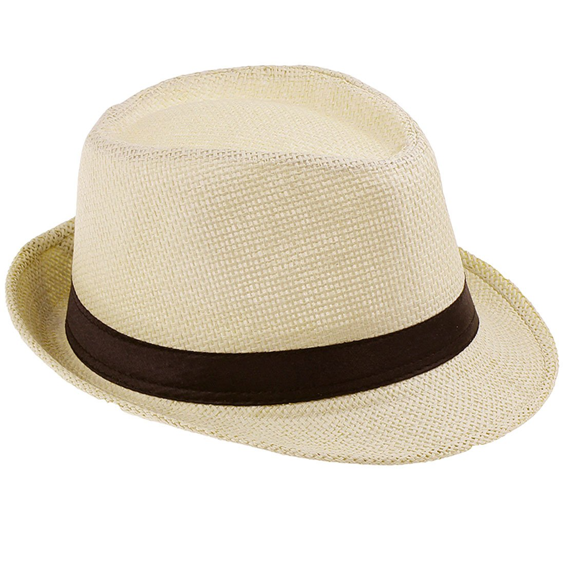 JTC(TM Women Men Straw Fedora Trilby Gangster Hat Summer Beach Panama Jazz Cap-Beige