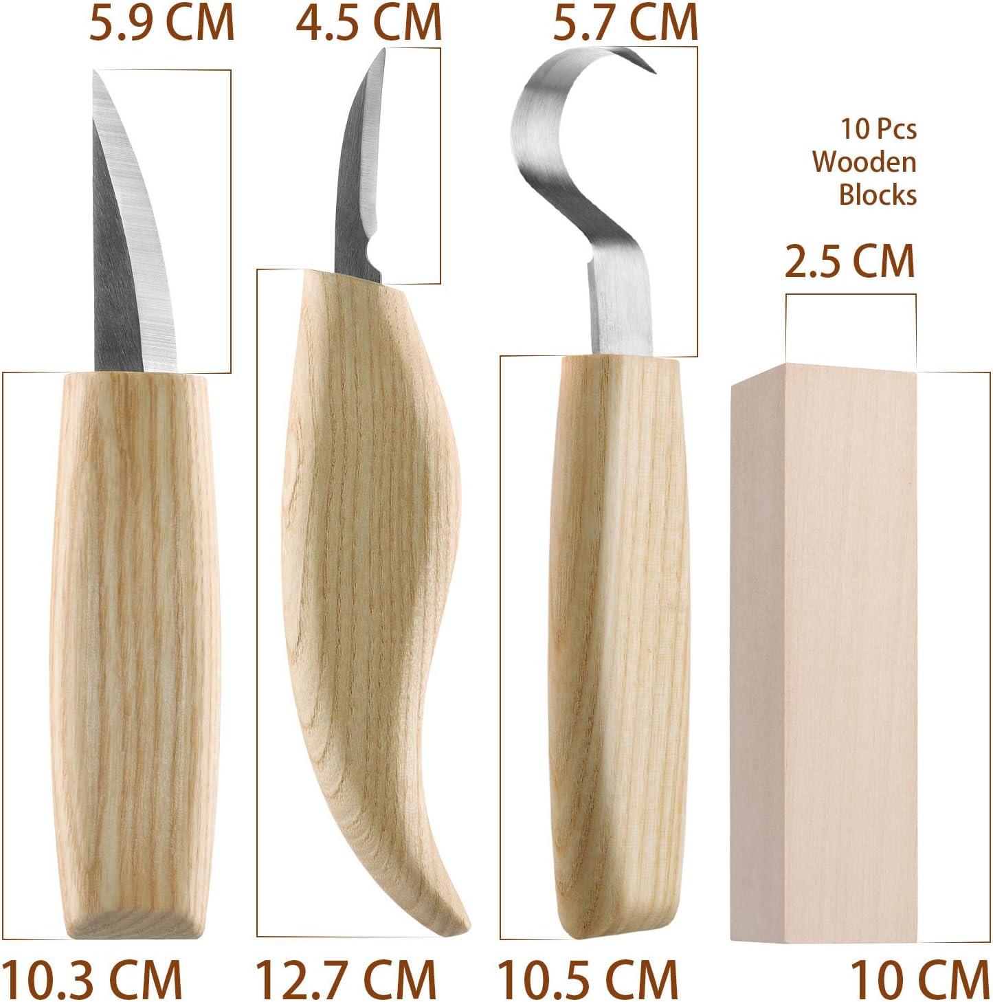 Fuyit Holz Schnitzwerkzeug Set-Beinhaltet 6 Teiliges Holz Schnitzmesser Set /&10 Pcs Linde Holzbl/öcke f/ür L/öffel Sch/üssel Cup Edelstahl Schnitzwerkzeuge f/ür Anf/änger//Profis mit Schnittfeste Handschuhe