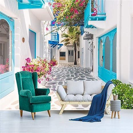 WANGBZ Carta da Parati 3D Murale Grecia Santorini Amore Mare Murale ...