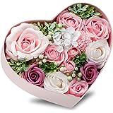フラワーソープ 石鹸の花 ソープフラワー 枯れないお花 母の日 花束 バレンタインデ ー 誕生日 お祝いや休日 温泉 の贈り物 ハート形 ピンク フラワーボックス (ピンク)