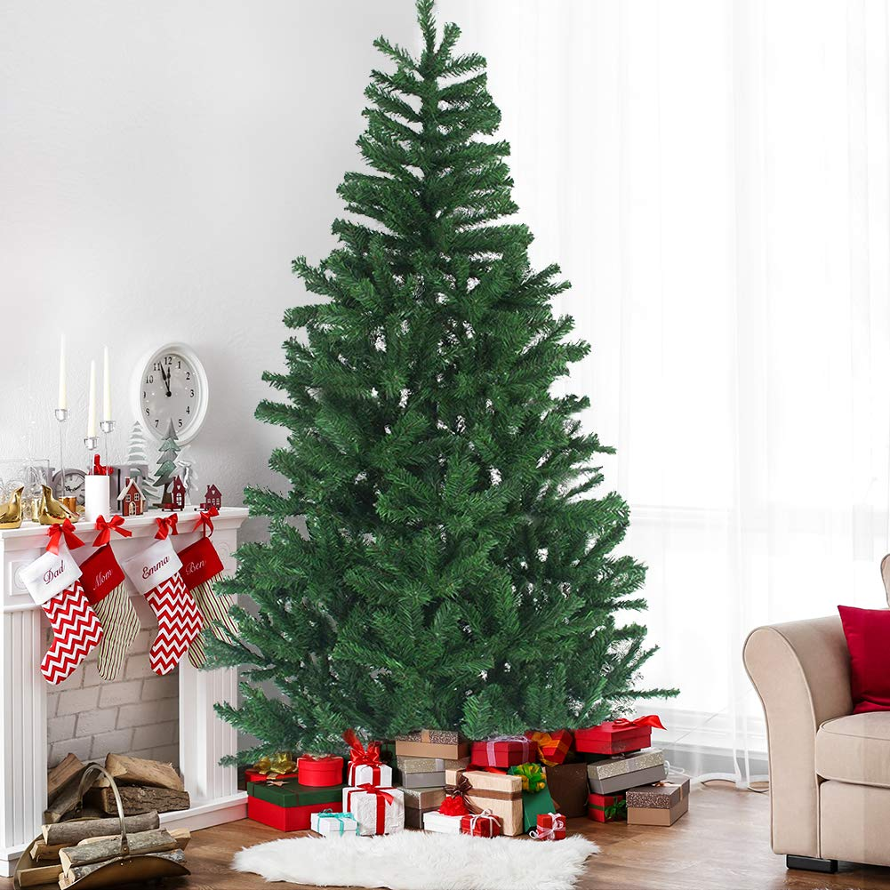Juegoal 6 FT Hinged Artificial Christmas Tree Fir with Premium Metal Legs, 640 Tips Whole Tree, Front Porch Home Christmas Ornament