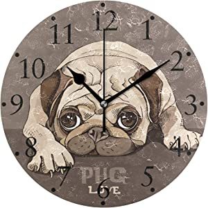 VIKKO Funny Pug Puppy Cute Dog Repose Wall Clocks Battery Operated Home Decorative Round Wall Clock 9.4 IncKitchen Bedroom Living Room Classroom Office Clock