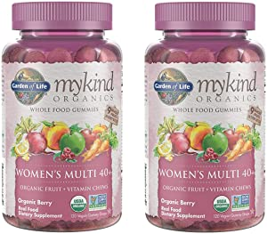 MyKind Organics Women's Multi 40+ Whole Food, Organic Vitamin Chews in Delicious Organic Berry (120 Vegan Gummy Drops) Pack of 2