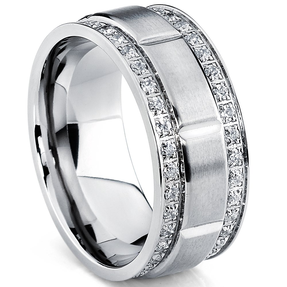 Men's Titanium Wedding Band Ring with Double Row Cubic Zirconia, Comfort Fit Sizes, 9MM 8 to 12 TIRCC-1107