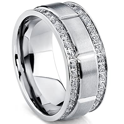Ultimate Metals Co. Black Plated Cubic Zirconia Titanium Wedding Band Engagment Ring Comfort Fit Unisex 90GYf5AzBL