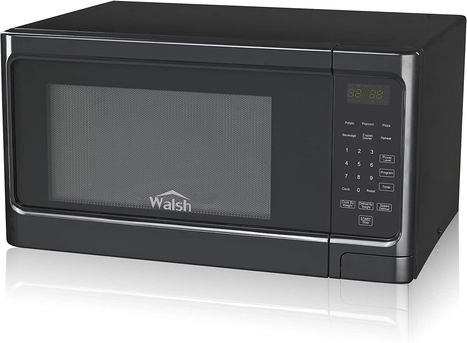 WALSH WSCMS311BK-10 Microwave Oven w/Cook Menu Safety Lock Interior Light and LED Display Countertop Cooker, 1.1 Cu.ft Black
