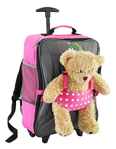 Cabin Max Bear Childrens Luggage Carry on Trolley Suitcase (Pink Spot)