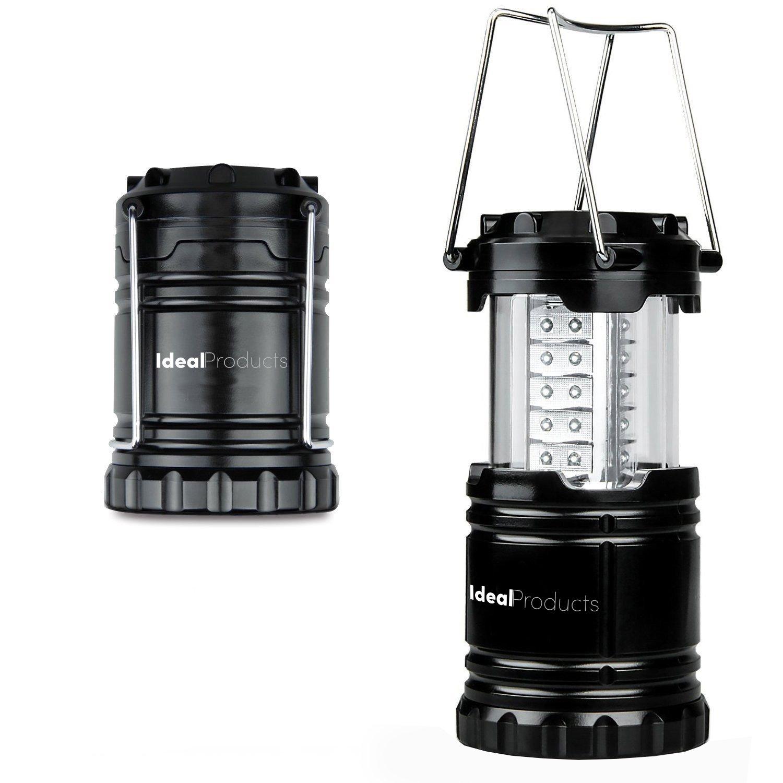Ideal Products Camping-Lampe mit 32 LED-Lichter Ultra Hell (Schwarz und Klappbar). Effiziente und helle Beleuchtung 360°, Militäqualität. Spart Platz und Gewicht im Gepäck. Speziell für Notfälle