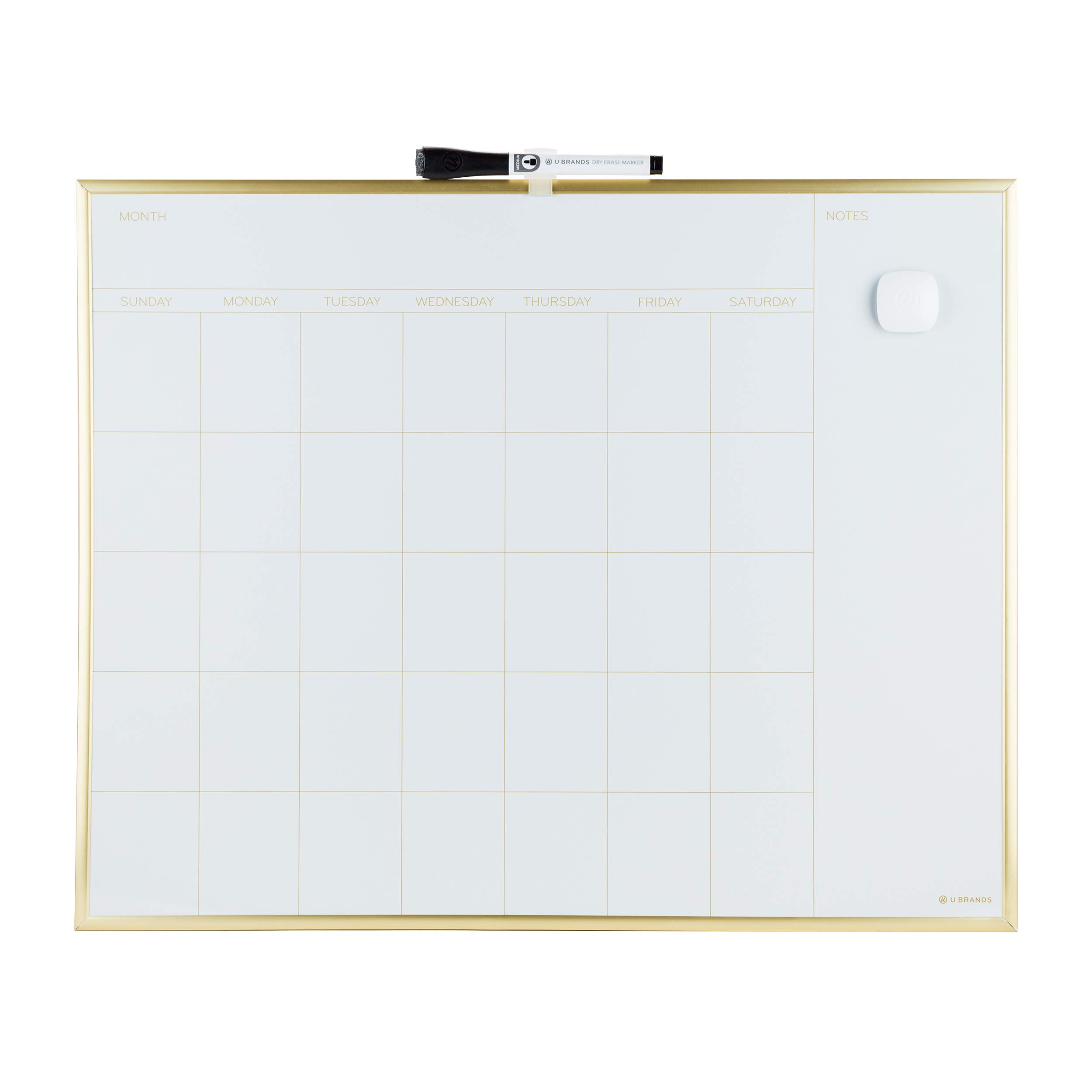 U Brands Magnetic Monthly Calendar Dry Erase Board, 20 x 16 Inches, Gold Aluminum Frame