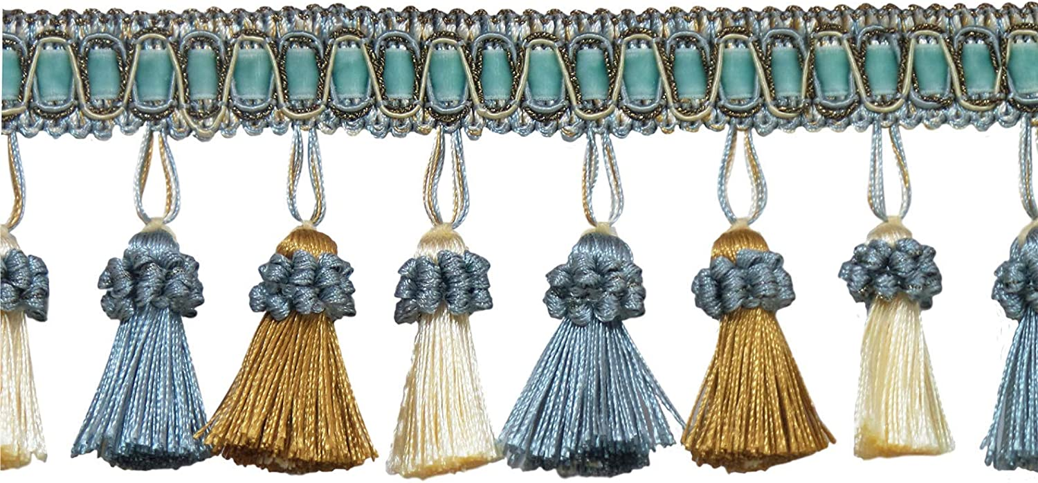 Sold by The Yard Off White Tassel Fringe3|Style# TFH3CT Color: Island Breeze 5939 D/ÉCOPRO Elegant 3 Inch Long Vintage Silver Blue Gold