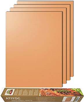 Atiyoc Copper Grill Mat, Set of 4 Non-stick and Heat Resistant Baking Mats