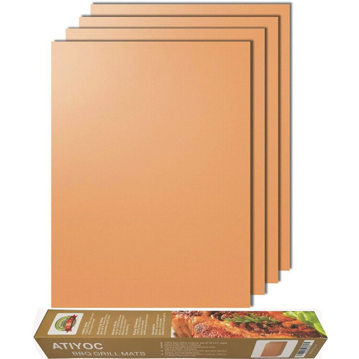 Atiyoc Copper Grill Mat, Set of 4 Non-stick and Heat Resistant Baking Mats for Charcoal, Electric and Gas Grill