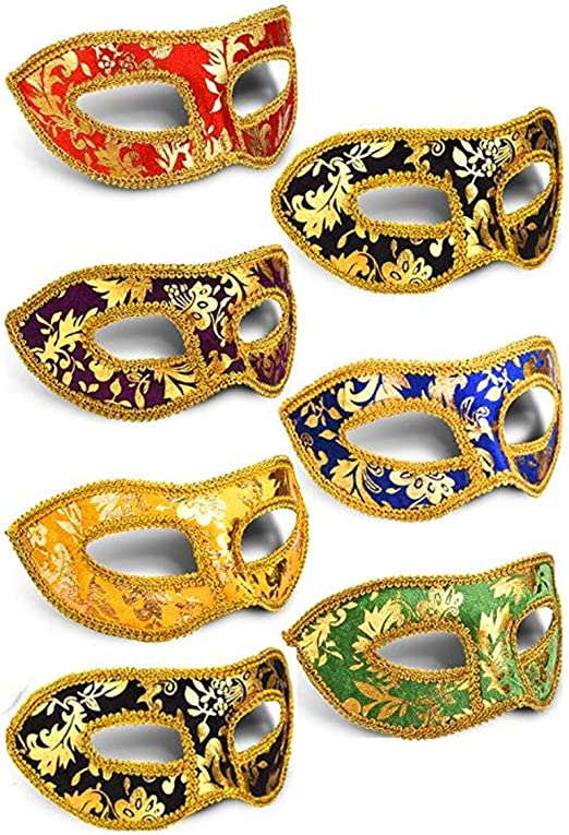 Lot of 12 Mixed Wholesale Silver Theme Mardi Gras Masquerade Costume Mask Party