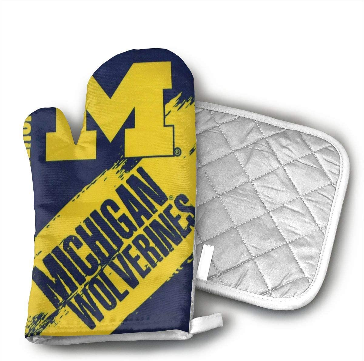 LZMBH Michigan Wolverines Oven Mitts,Heat Resistant Cotton Infill,450 F Degrees Heat Resistant
