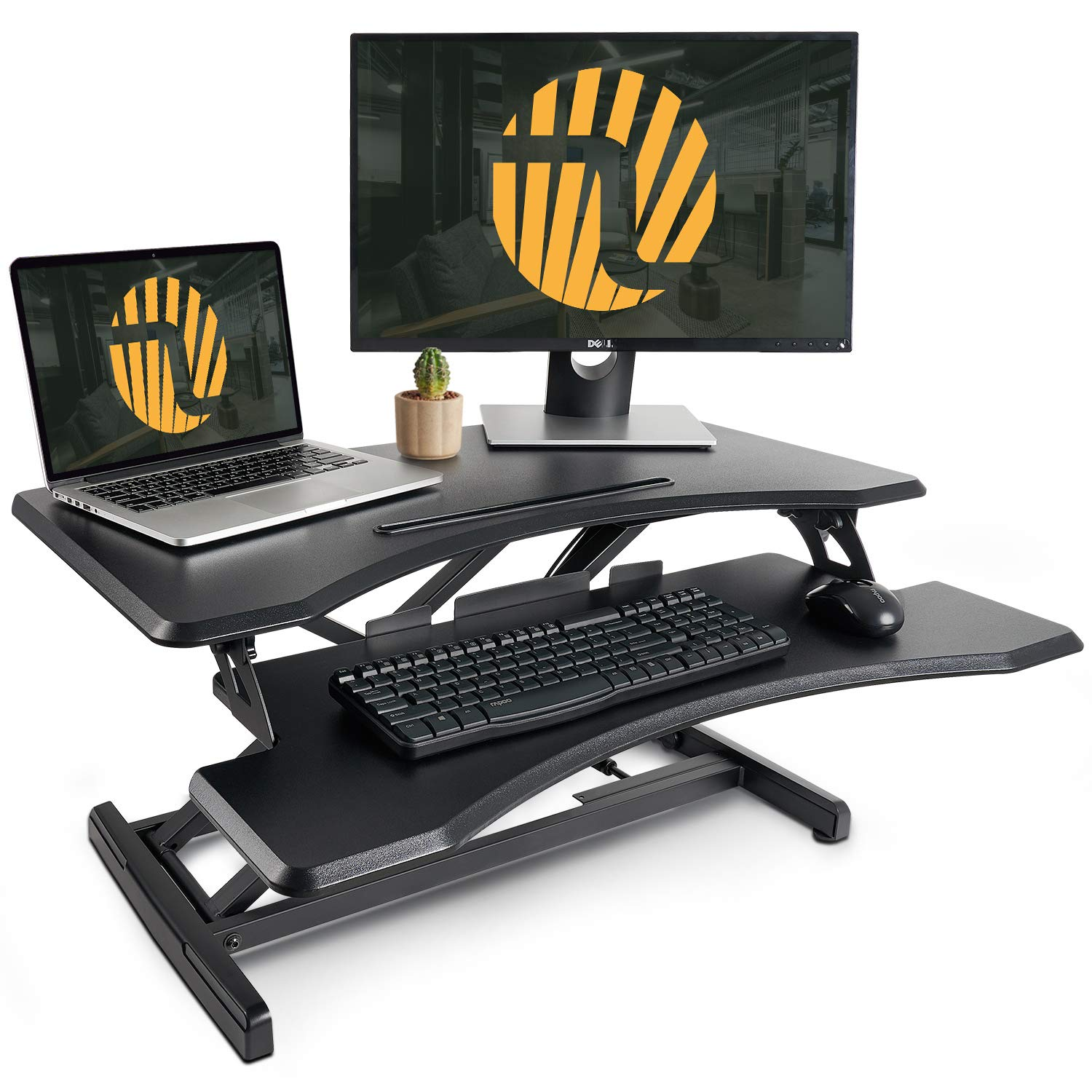 Standing Desk with Height Adjustable - FEZIBO Stand Up Desk Converter, 33 inches Black Ergonomic Tabletop Workstation Riser Fits Dual Monitors