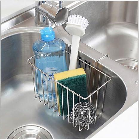 SZUAH Kitchen Sink Sponge Holder, 304 (18/8) Stainless Steel Sink Caddy  Organizer, Liquid Drainer Rack for Sponge, Soap, Brush, Dishwashing ...