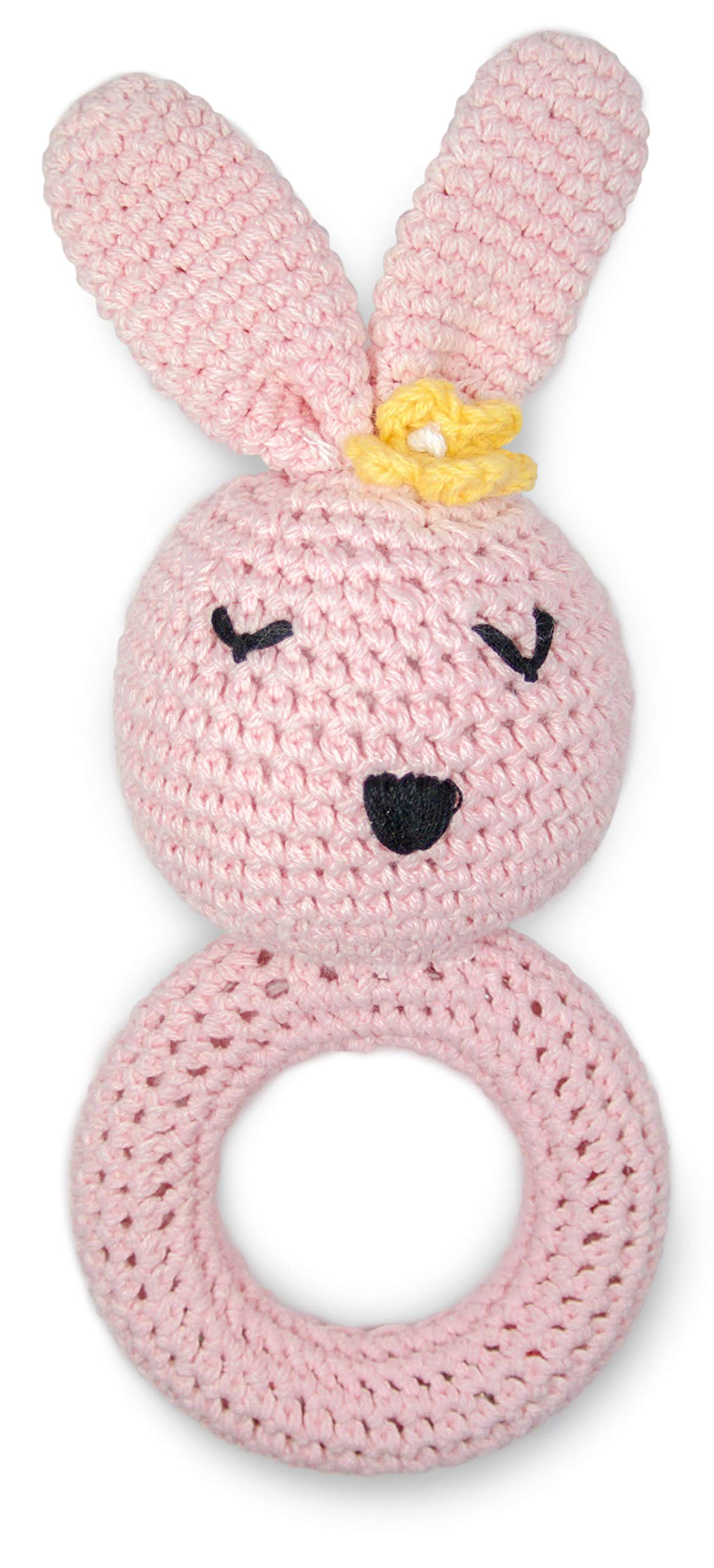 Cute New York Pure Cotton Knit Animal Rattle for Baby Boy or Girl/(Pink Rabbit)